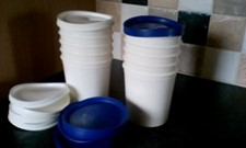 5 White Storage PLASTIC POTS - soft flexible lids